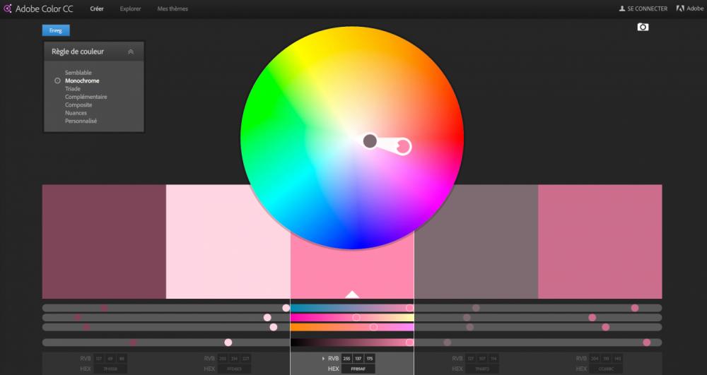 roue chromatique adobe choix couleur